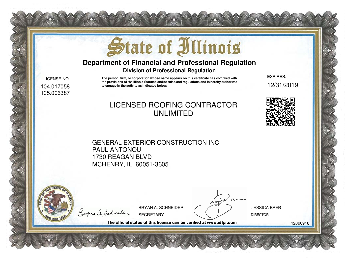 Roofing License