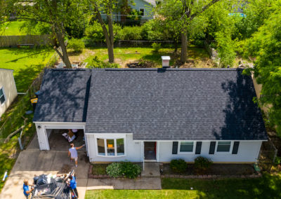 arial shot of new shingle roof installation